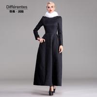 TWODS 2014 new fashion autumn Jacquard dress black skirt him o neck plus size female full length dress high quality DR