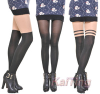 2014 New Fashion Black Mixed Colors Gipsy Mock Ribbed Over The Knee High Pantyhose Hose Tight Women Clothing