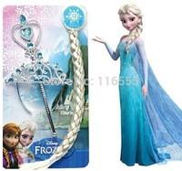 Frozen Accessories Frozen Elsa  Anna Crown + HairBand + Frozen Wand + Girls Wig Girls Party Dressing Kids Cosplay Ornaments