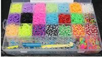 free shipping 5500Pcs 22Colors Rubber Loom Bands Kit BOX!Children Handmade Charm DIY Bracelets Hot Sale Powerful Gift