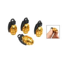 Free  shipping  8  Pcs Car Alloy Grenade Shaped Tire Valve Cap Gold Tone