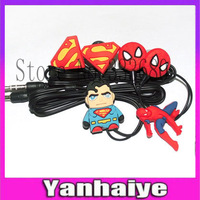 3D Cartoon Anime  3.5mm In-Ear spider superman earphone Headphones  For Mobile Phone MP3 MP4 Free shipping