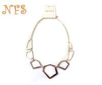 exaggerated golden necklace short paragraph minimalist , geometric squares simple necklace , designer necklace