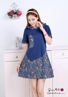 Patchwork 2014 women female  pregnant  one-piece dress casual plus size loose mother dress short-sleeve