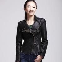 Hot Sale 2014 New Winter Fashion Slim Autumn Jakcet Women Patchwork Black PU Lether Jackets