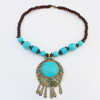Bohemia Ethnic Handmade Tibet Blue Resin Beads Lady Jewelry Necklace Accessories For Women Gift Wholesale Free Shipping#110255