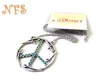 Texture peaceful anti-war necklace earring sets, metal necklace free shipping