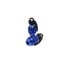 Free  shipping  8  Pcs Car Alloy Grenade Shaped Tire Valve Cap Cover Blue