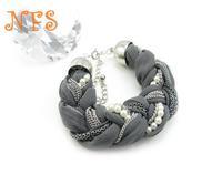 European and American trade of the original single new winter wholesale jewelry , silk weaving pearl bracelet