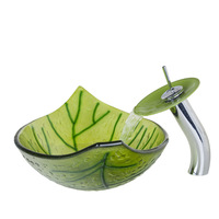 Hand Painted Green Leaf Tempered Glass Vessel Sink With Waterfall Faucet And Pop Up Drain Bathroom Sink Set HS9006-1