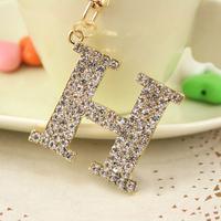 Christmas Gift Full Rhinestone Famous Brand H  Keychain Alloy Keyring handBag Charm Real Gold Plated ,Nickel free