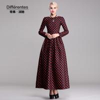 TWODS 2014 new arrival cotton autumn winter long dress floral printed o neck s-xxxl plus size elegant slim maxi dress DR