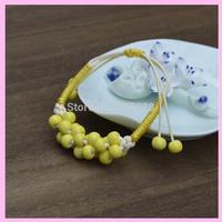 Vintage Style Promotion Gifts Womens Yellow Garnet Ceramics Pottery Handmade Bracelets Great Price+1Pcs/Lot+Free Shipping