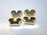 Mickey Ears Golden Back Floating Charm Floating Locket charm Fits Living lockets 20pcs/lot Free shipping
