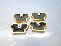 Mickey Ears Golden Back Floating Charm Floating Locket charm Fits Living lockets 20pcs/lot Free shipping