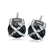 GNE0991-6 Genuine 925 Sterling Silver Jewelry 6mm Black Cubic Zircon Earrings Gift for Women Fashion Stud Earrings