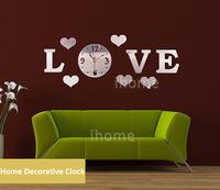 DIY Love Home Decoration quartz Acrylic mirror wall clock, Safe 3D Modern design & Fashion Art Home Decor stickers wall Watch