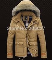 2014 High Quality Brand New Winter Jackets Men Wool Hood Winter Thickening Coats Men Warm Outwear