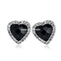 GNE0986 Exquisite Black Agate Earrings 9.5*9.5mm Fahsion Women Jewelry Pure 925 Sterling Silver CZ Heart Earrings