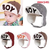 Winter hat BOY letters baby   bomber hats  velvet baseball cap toucas de inverno children warm hat for girls