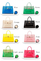 Women Jelly Candy Colors Clear Transparent Lock Handbag Hobo Tote Shoulder Bag