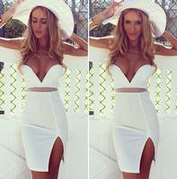 In autumn 014 European fashion hot deep V collar dress color bandage mini bodycon dress frozen dress elsa dress