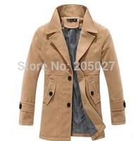 2014 Brand New Men Winter Jackets Long Wool Trench Coats Plus Size 3XL Thick Warm Hooded Winter Jacket Men Winter Coat