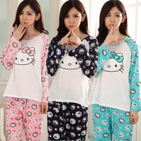 New 100% Cotton Cat Pajama Casual Autumn Winter Pijama Nightwear Pajamas Set For Women Feminino Inverno Sleepwear Homewear Suit