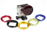 Free shipping GO3 Accessories Red 58mm Aluminum Alloy UV Lens Filter Ring Adapter For GoPro Hero 3
