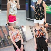 Cool Women Girl Lady Chiffon Printing Camisole Vest Sleeveless T-Shirt Colorful