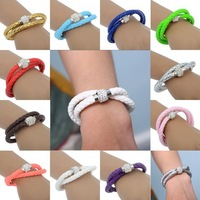 New Arrival Fashion Unique Rhinestones Personality Double PU Leather Women Bracelet Charm Bracelet with Magnetic Clasp