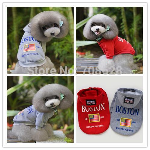 New British Style BOSTON Pet Sweaters Dog Cat Hoodie Coats Jacket 100%Cotton Sportwear Winter Pet Clothes S-XXL Free Shipping(China (Mainland))