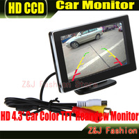 """Car 4.3"""" Digital Color TFT 16:9 LCD Car Reverse Monitor with 2 Bracket holder HD Rearview Camera DVD VCR Monitor Free Shipping"""