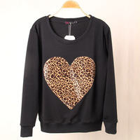 Free Shipping 2014 3D leopard lovely heart-shaped big yards female jumper the spring and autumn sweatshirt  Wholesale