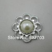 (CM900)50 X Round Ivory Faux Pearl Button Silver Tone Emebellishment For Invitation Card