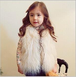2014 Fashion Girls Fur Vest Cotton-paddedBaby Clothes Children Kids Toddler Children's Sweet Warm Outerwear Jacket WJ0034(China (Mainland))