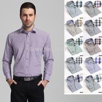 New autumn Men's shirts Long sleeve fine plaid brand dress shirt men High quality casual shirts for man plus size