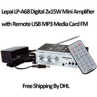 Lepai Model LP-A68 Digital 2x15W Mini Amplifier with Remote USB MP3 Media Card FM Wholesale Free DHL