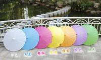 New Wedding Parasols Paper Parasol Sun Umbrellas Bridal Handmade 33'' Diameter Solid Color Paper Umbrella Chinese Straight Sunsh