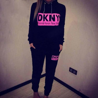 2014 women fashion 2pcs tracksuit sportwear new york print pullover long sleeve hoody sweatshirt sports suit costumes women
