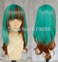 Harajuku Lolita green /brown mix Long Wavy Cosplay Heat-Resistant wig