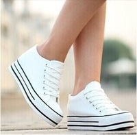 Free shipping new style 2014 fashion high quality women canvas sneakers height increasing lace up solid casual shoes