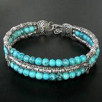 Wholesale cheap Handmade Jewelry Tibetan Silver Blue Turquoise Lady Chain Bangle Bracelet / Free Shipping