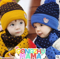 Wholesale and Retail Fashion baby hat   ear protectorand headress scarf &hat set winter hats warm hats design