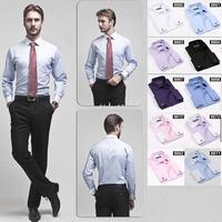 Mens clothing High quality Men's classic french cuff shirt Long sleeve dress shirt men Business formal shirts