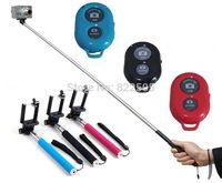 3PCS Extendable Self Selfie Stick Handheld Monopod +Clip Holder+Bluetooth Camera Shutter Remote Controller for iPhone Samsung