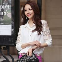 A09*Plus Size S-XXL Female long-sleeved summer Autumn shirt chiffon blouse Women lace blouses large size Office Ladies Tops