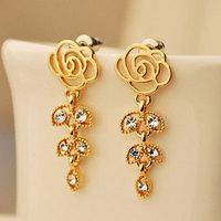 Mini Order $8.8(Mix Orders) 2014 New Arrival Gold Color Rose Flower Leaf Drop Women Fashion Stud Earring FE0014