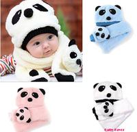 New Fashion Panda Hat Scarf two-piece Children Beanie Cute Baby Bonnet Winter Autumn Velvet Cap Children's Hat and Scarf set