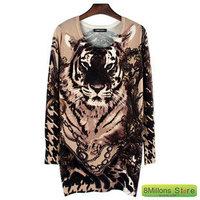 2014 new winter Style long sleeve head in the domineering tiger head women cardigans